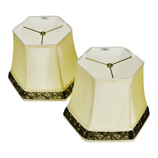 Vintage Stiffel Hexagon Bell Shaped Lamp Shades W/ Decorative Trim- a Pair For Sale