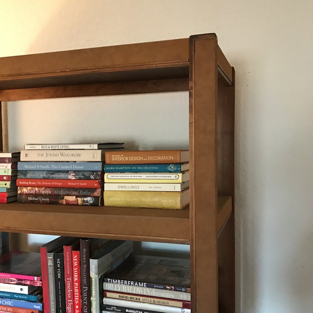 Custom Made Tall Parsons Style Rectangular Bookcase. Covered in suede texture paper and wood veneer details. Finished on...
