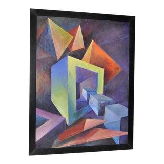 Giuseppe Napoli Mid Century Geometric Abstract Oil Painting C.1950