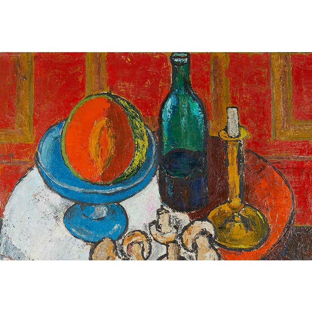 Belgian Oil Painting Still Life Signed 1950's For Sale - Image 3 of 6