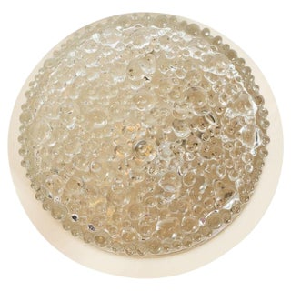 Mid-Century Modern Textured Bubble Glass Flush Mount For Sale