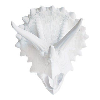 Wall Charmers Faux White Triceratops Dinosaur Head Wall Hanging