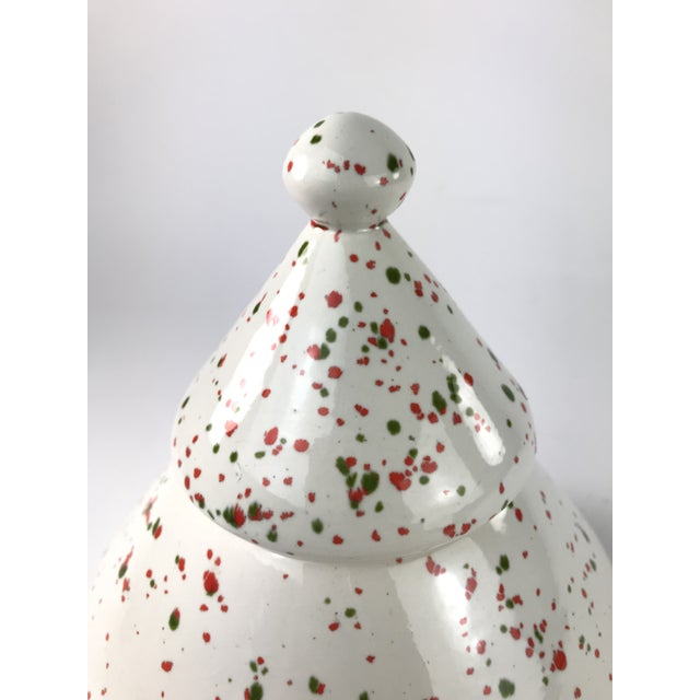 Leave cookies for Santa in this stylish 80's splatter painted Christmas tree ceramic canister or cookie jar. I love the...