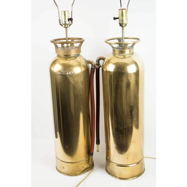 Brass Fire Extinguisher Lamps - a Pair For Sale In New York - Image 6 of 13