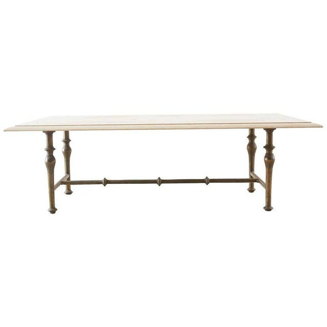 Italian Hollywood Regency Marble-Top Brass Cocktail Table For Sale - Image 13 of 13