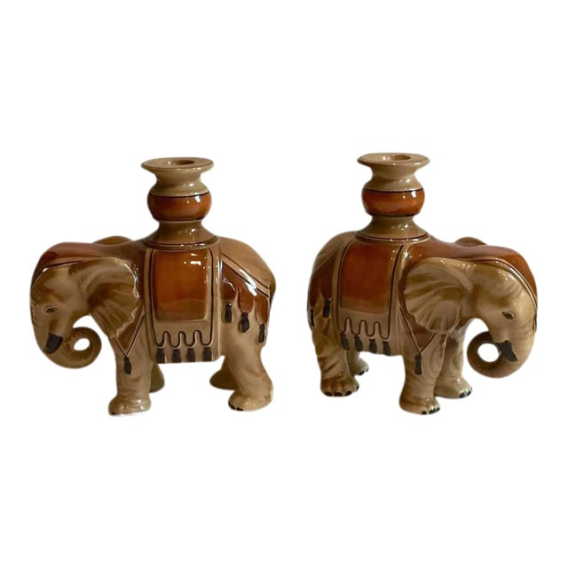 Fitz & Floyd Elephant Candle Holders - A Pair For Sale