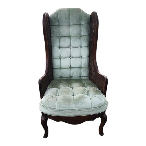 Tufted Velvet Cane Wingback Chair For Sale