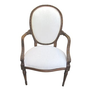 White French Style Cameo Back Arm Chair For Sale