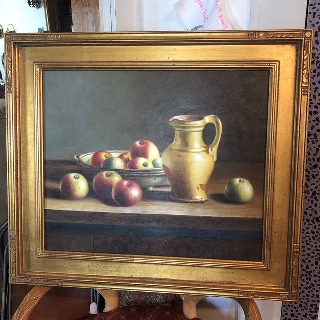 1990s Vintage Apples & Pitcher Still Life Painting For Sale In Atlanta - Image 6 of 6