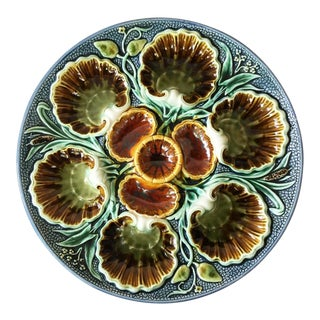 1880s Antique Majolica Oyster Plate For Sale