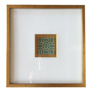 Gold Framed Geometric Turquoise Print