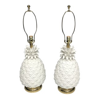 White Pineapple Large Ceramic Hollywood Regency Lamps - a Pair For Sale