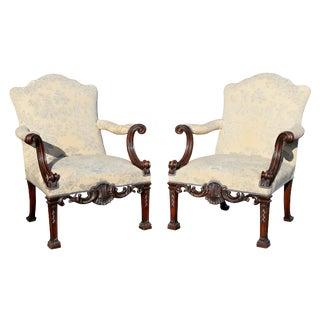 Georgian Style Mahogany Armchairs - a Pair For Sale