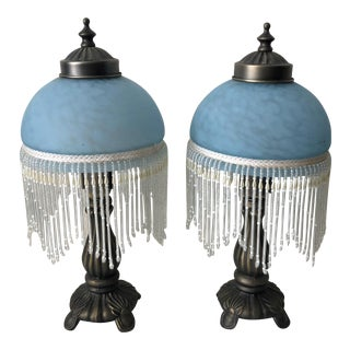 Antique Victorian Frosted Blue Glass Beaded Fringe Lamps - a Pair For Sale