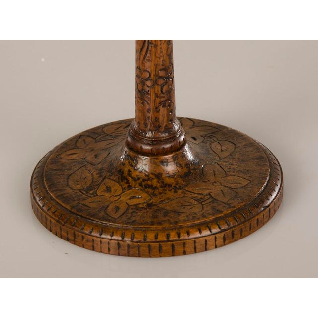 19th Century English Tall & Slender Carved Pokerwork Candlesticks - a Pair For Sale - Image 10 of 11