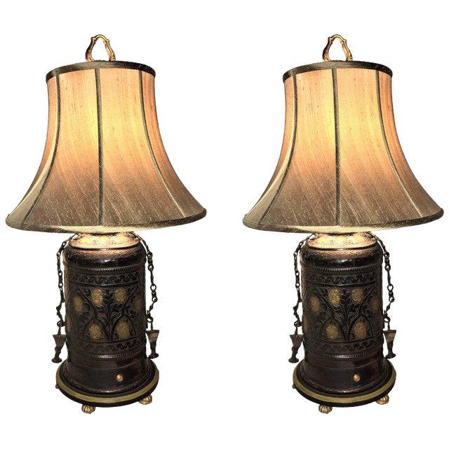 Pair of Custom Quality Vintage Brass and Metal Floral Design Urn Table Lamps For Sale