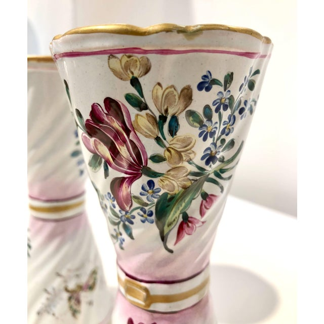 1870s St. Clement French Faience Majolica White Pink Flower Vases - a Pair For Sale - Image 11 of 13