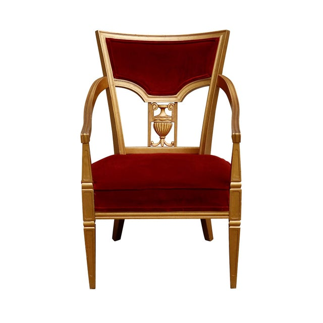 Red Statesville Chair Company Royal Throne Chair in Red & Gold For Sale - Image 8 of 8