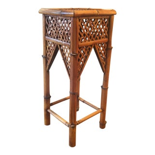 Vintage Tall Turkish Bamboo Pedestal Side Table For Sale