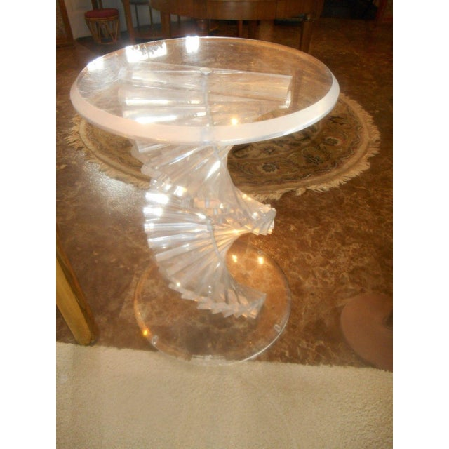 Vintage Lucite Helix Spiral Stacked Block Table Base - Image 5 of 8