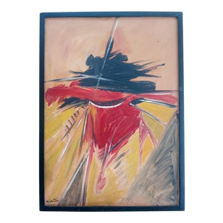 Mid 20th Century Abstract Expressionist Oil Painting, Framed For Sale