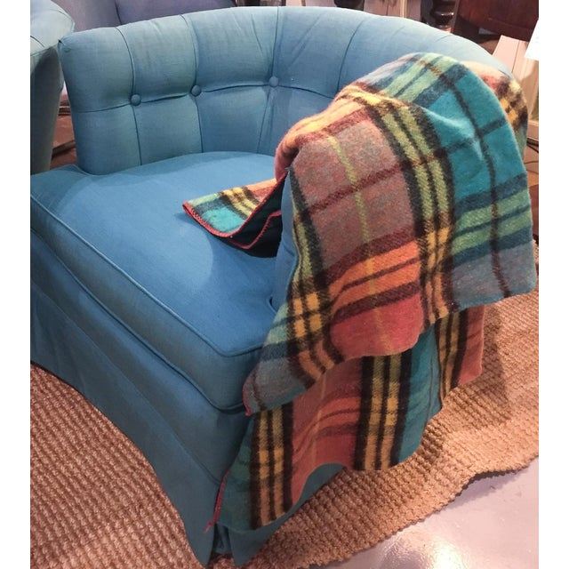 Mid-Century Plaid Whip Stitched Camp Blanket - Image 3 of 6