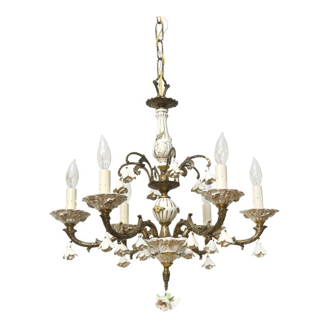 Six Light Italian Porcelain and Brass Chandelier - Image 1 of 4