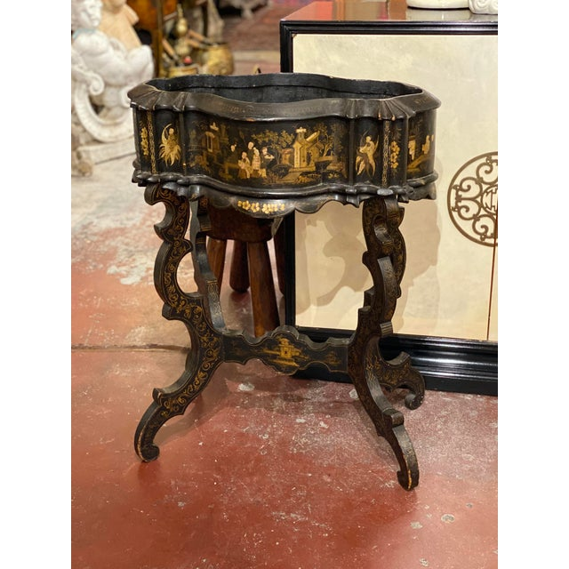 Chinoiserie 19th Century Vintage Chinoiserie Plant Stand For Sale - Image 3 of 9