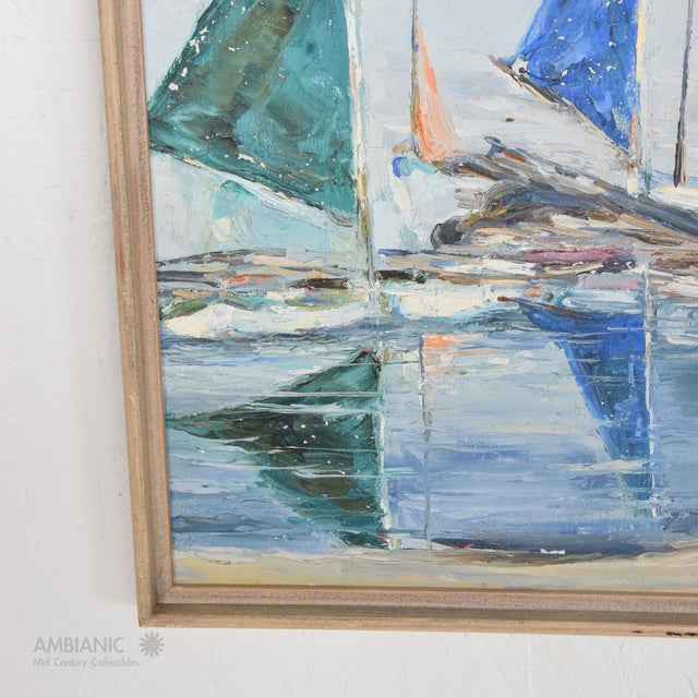 Canvas Oil in Canvas Hazel Rakestraw, Sailing Boats California Modern For Sale - Image 7 of 9