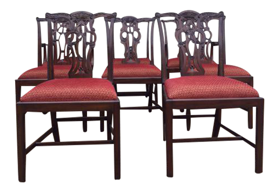 Set Of 5 Maitland Smith Chippendale Dining Chairs