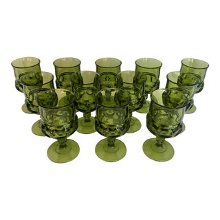 Vintage Indiana Glass Kings Crown Thumbprint Green Glasses - Set of 12 For Sale
