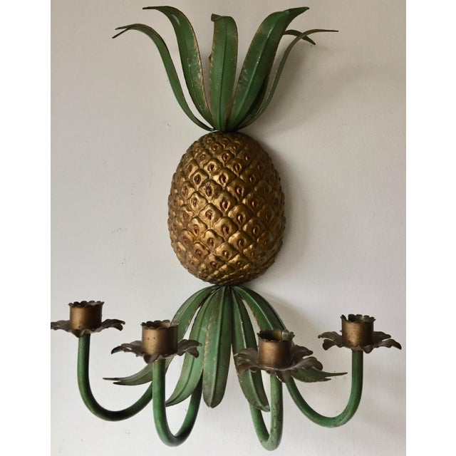 This simply fabulous vintage Italian painted tole 4 candle wall sconce is perfect to add a touch of flair to a powder...
