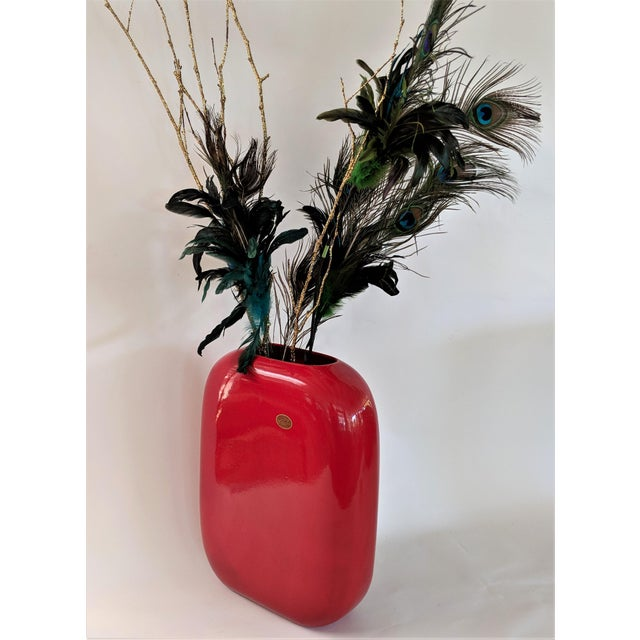 "Large Vase by Treasure Craft circa 1960. Gorgeous glossy red vase. Measures 17"" tall."