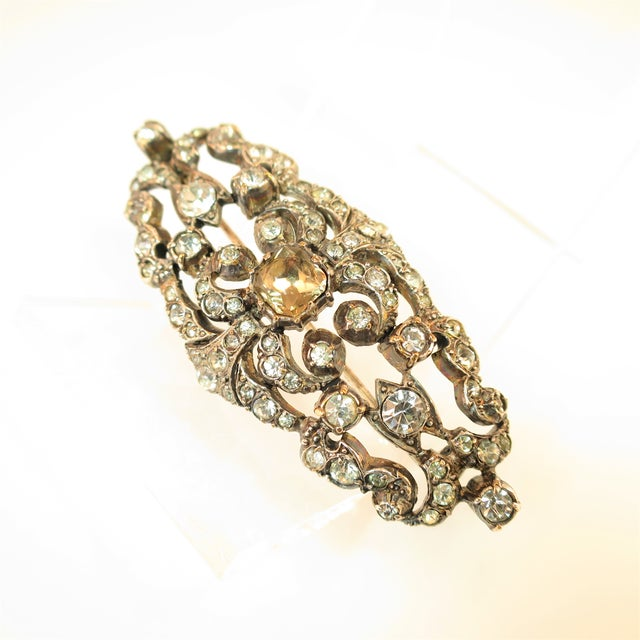 Edwardian Edwardian Hand-Wrought Sterling & French Paste Brooch1905 For Sale - Image 3 of 11
