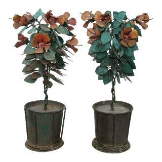 Vintage Mid-Century Brutalist Iron Floral Tabletop Decor - 2 Pieces For Sale