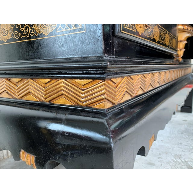 20th Black Lacquer and Hand Painted Open Altar Table or Sideboard For Sale - Image 11 of 13