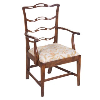 19th Century Chippendale Ladderback Arm Chair For Sale