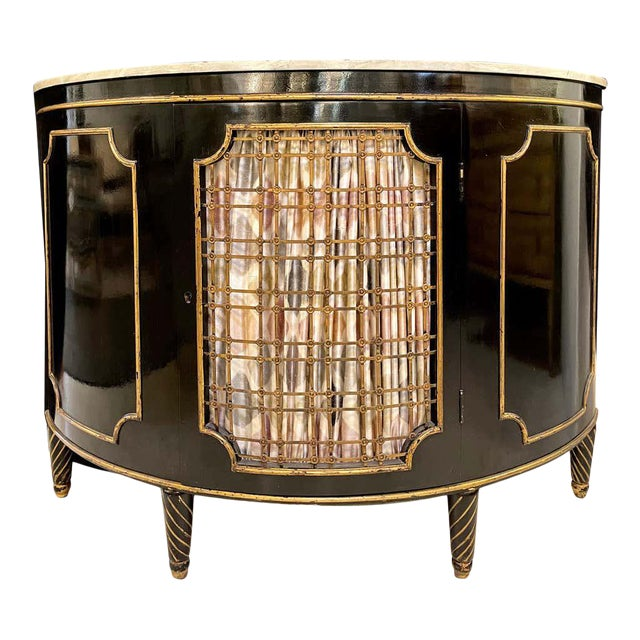 Ebony Demilune Commode or Server Hollywood Regency For Sale