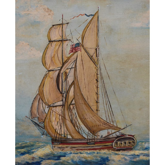 Framed 1940s Sailing Ship Oil Painting - Image 5 of 11