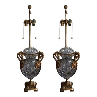 Crystal and Gold Washed over Brass Lamps, 20th Century - A Pair For Sale
