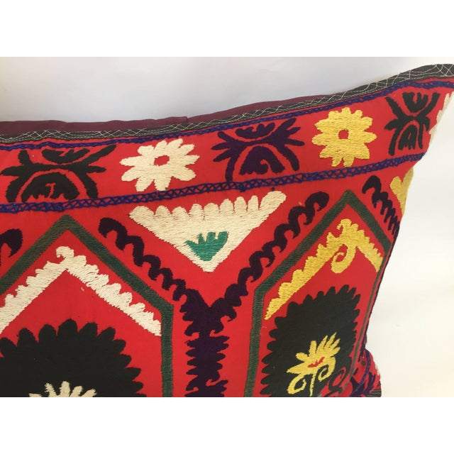 Vintage Large Colorful Suzani Embroidery Decorative Throw Pillow From Uzbekistan For Sale - Image 10 of 13