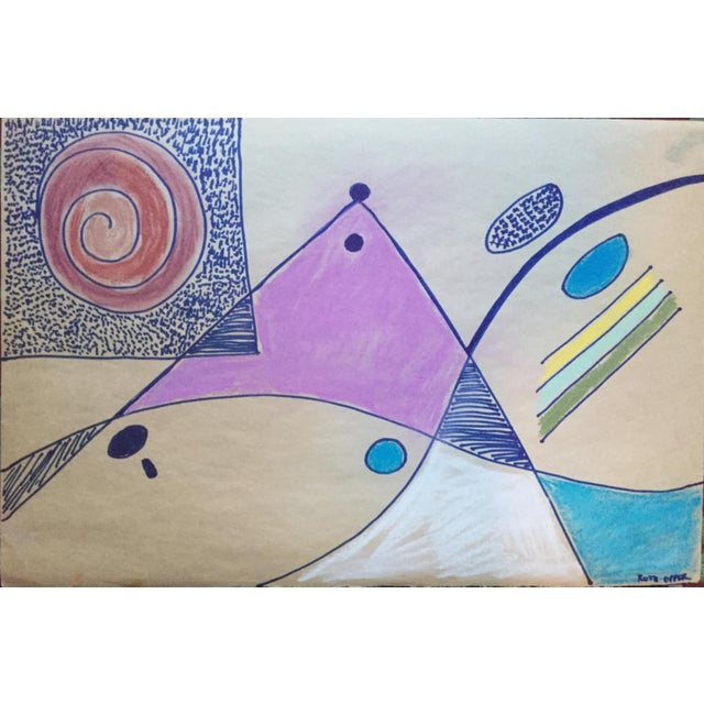 Blue Bay Area Abstract Expressionism Drawing 1950s For Sale - Image 8 of 8
