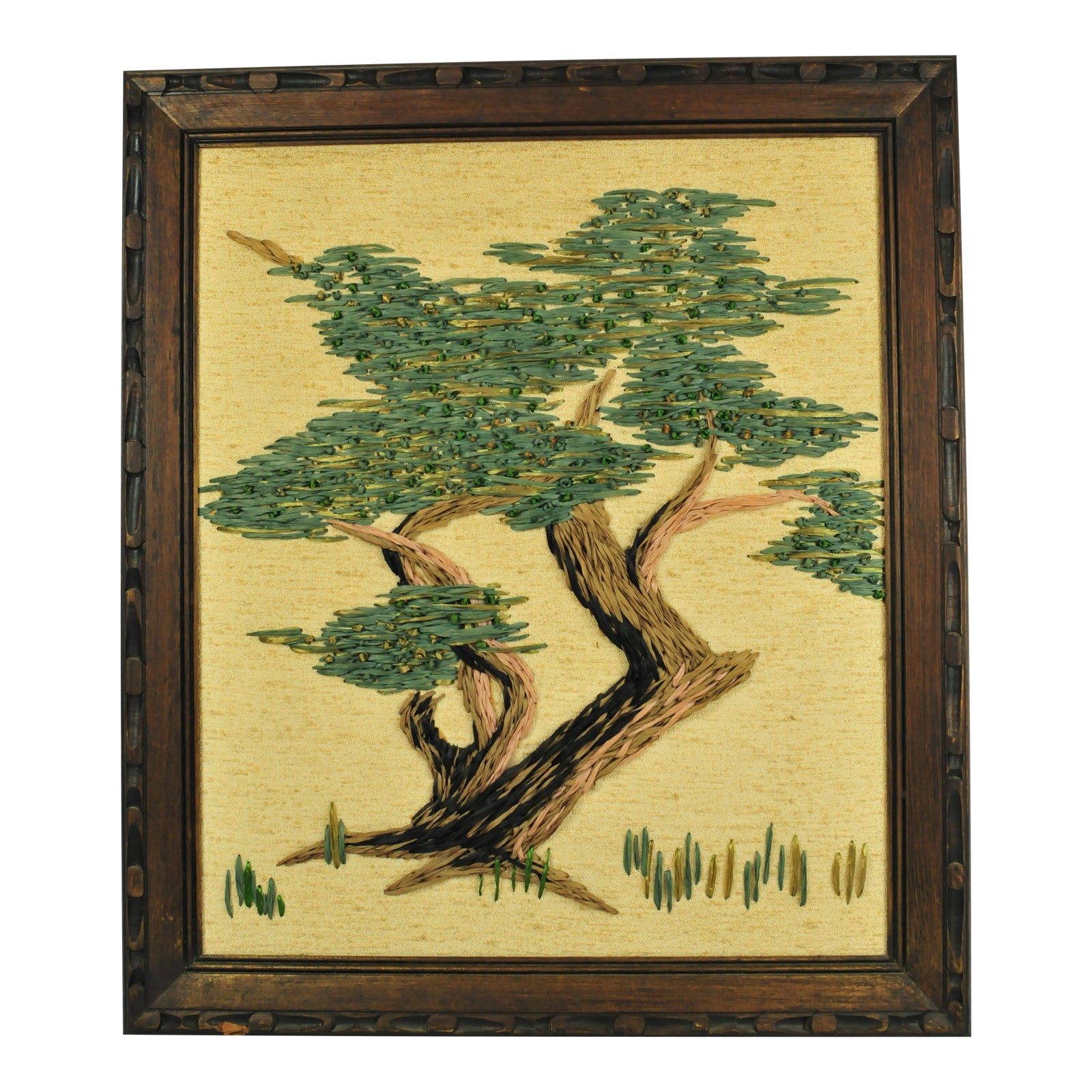 Mid-Century Dyed Grasses Needlepoint Tree Wall Art Made | Chairish