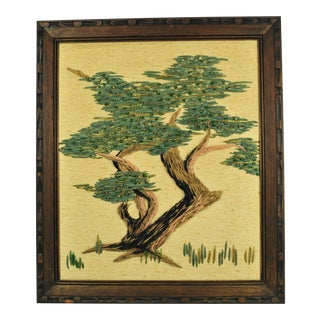 Mid-Century Dyed Grasses Needlepoint Tree Wall Art Made