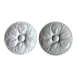 Vintage French Bistro Style Porcelain Oyster Plates - A Pair For Sale