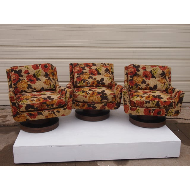 Floral Print Modern Lounge Chairs - Set of 3 - Image 2 of 4