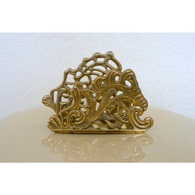 Vintage Brass Teleflora Letter / Napkin Holder For Sale - Image 9 of 9