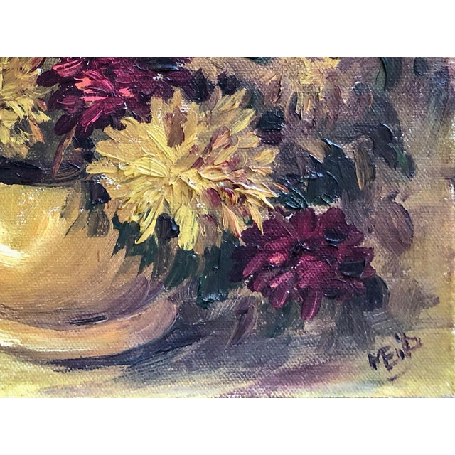 Boho Chic 1940s Vintage Spider Mum Flowers in Vase Still Life Painting For Sale - Image 3 of 5