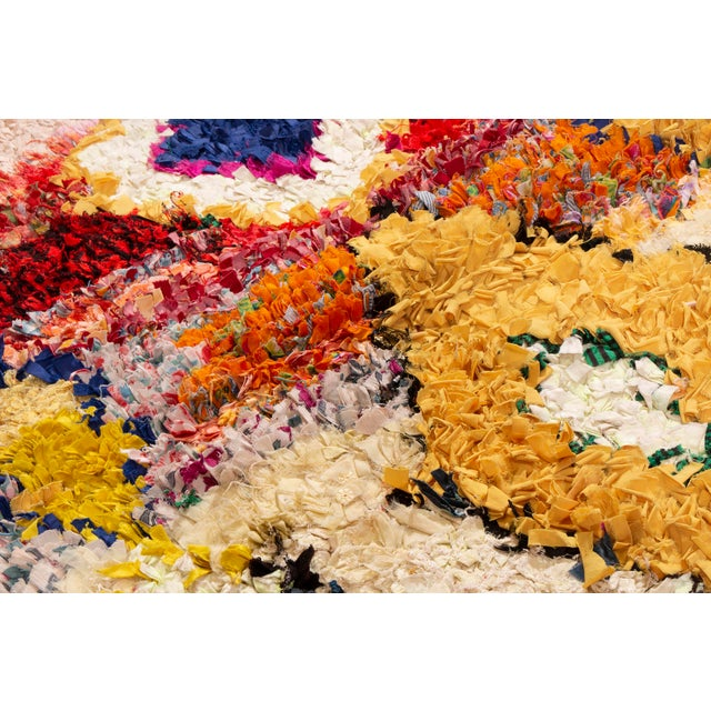 1950s Vintage Midcentury Moroccan Transitional Yellow and Red Fabric Rug - 3′4″ × 4′1″ For Sale - Image 5 of 6