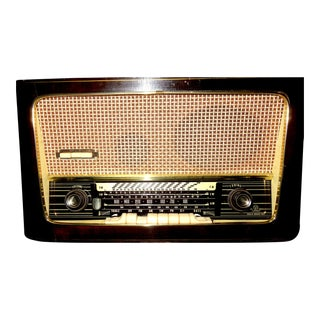 Large Aja German Made Dark Wood Table Radio Console Circa 1950s For Sale
